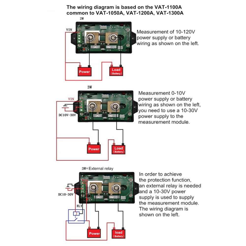 medium resolution of  juntek dc 120v 50a wireless voltage meter ammeter digital battery charging coulometer capacity power detector tester