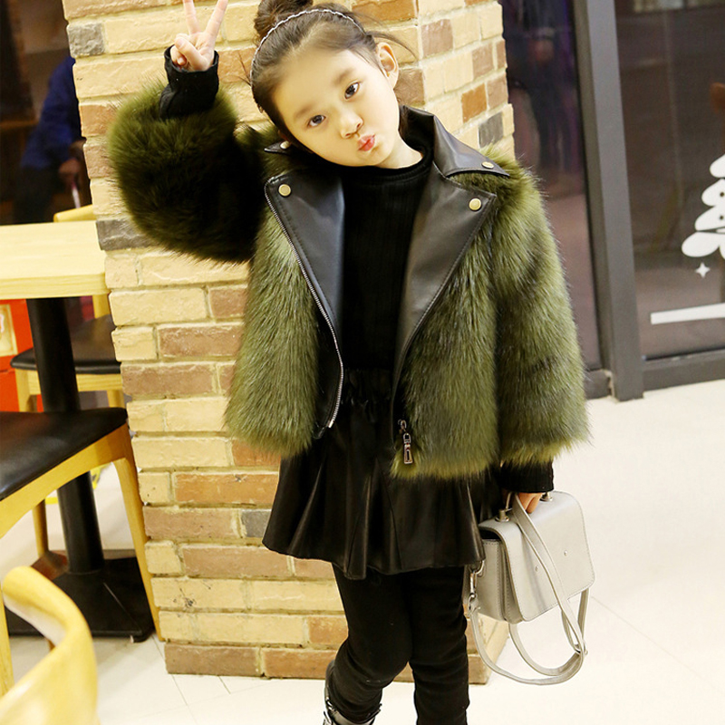 Kids Outerwear Coat Boys and Girls Fur Coat Baby PU Leather Faux Fox Fur Motorcycle Jackets For Girls Winter Warm children s unisex faux fur clothing 2018 winter girls and boys patchwork faux fur jackets boys long faux fur outerwear kids coat