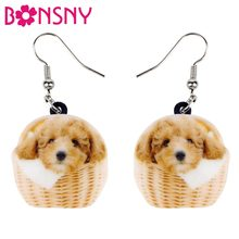 Bonsny Acrylic Cartoon Basket Teddy Poodle Dog Earrings Dangle Drop Cute Animal Jewelry For Women Girls Teens Bijoux Wholesale(China)