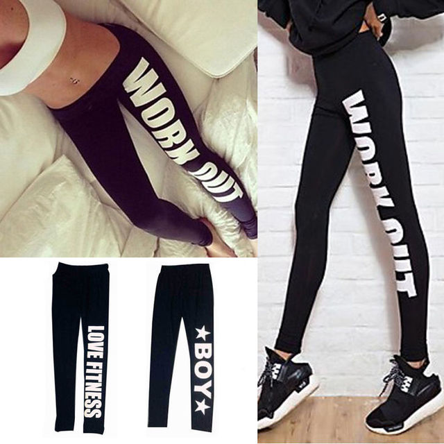 2017 New Women Printed Leggings Harajuku Work out Letter Print Black Casual Sexy Bottom Design Gun Fitness Leggings