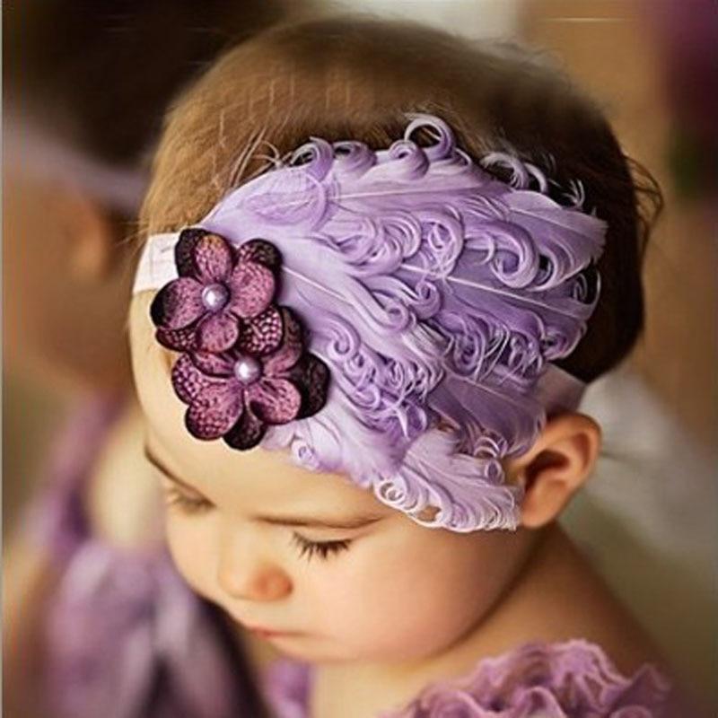 Оптовая продажа новорожденных эластичная повязка на голову для девочек перо новорожденных девочек банты на голову ткань группы Детские ак...