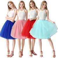 Neue 2019 Kurze Petticoat Tüll Röcke Frauen Elastische Stretchy 65 CM 6 Schichten Sommer Frühjahr Erwachsene Tutu Rock Unterrock Rockabilly