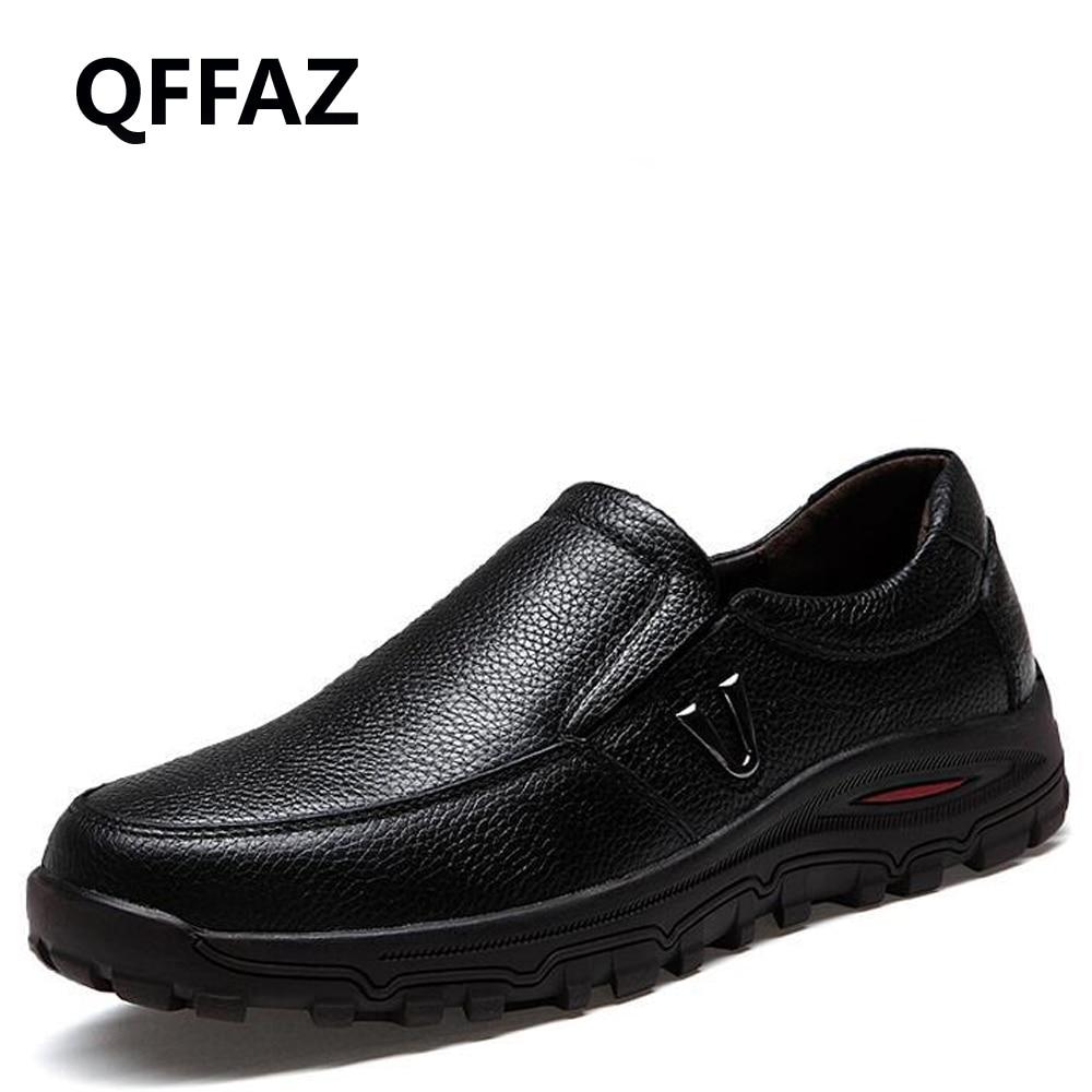 QFFAZ Genuine Leather Shoes Men
