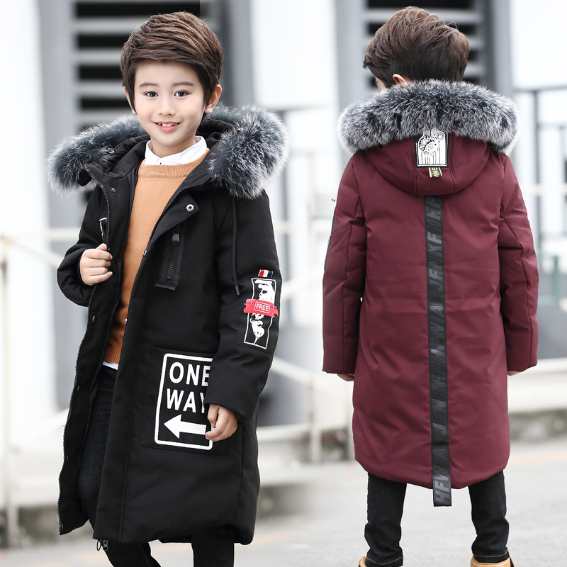 Boys Winter Jackets 2017 Fashion White Duck Down Big Fur Collar Warm Coat 6-16 Years Old Hooded Long Winter Jackets Coat plus size winter women cotton coat new fashion hooded fur collar flocking thicker jackets loose fat mm warm outerwear okxgnz 800