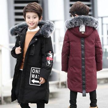 Chaquetas de invierno para niños 2017 moda pato blanco abajo cuello de piel grande abrigo cálido 6-16 años de edad con capucha largo chaquetas de invierno abrigo