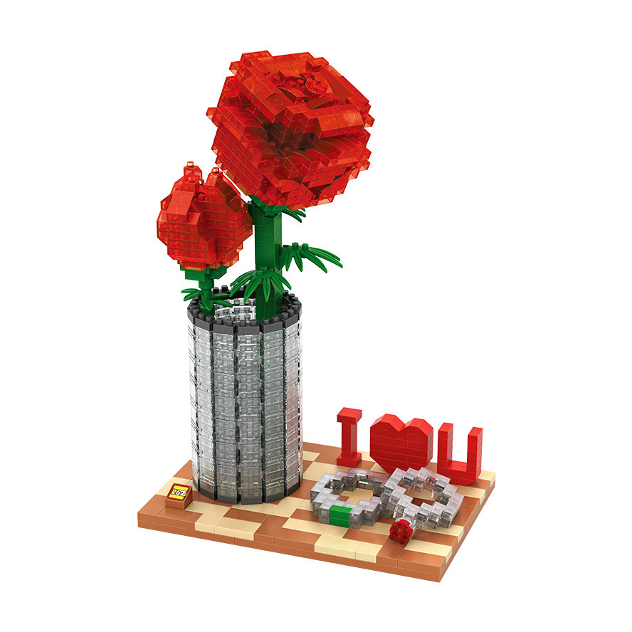 Loz creator mini diamond building block Crystal Rose suit nanoblock toys Valentine's Day gifts girls home decoration I love you