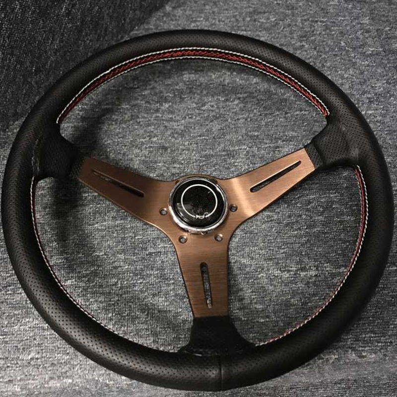 2019 new racing car steering wheel / competitive steering wheel / leather three-line 14-inch steering wheel цена