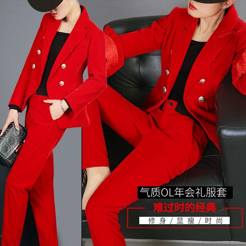 Élégant Féminin Velours Printemps Tempérament Mode 2 pièce Pantalon Deux Petit Professionnel Automne Costume 1 De Femmes 3 rqwFxr7