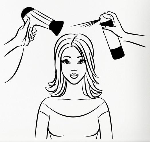 hair dryer girl salon sexy blow spa beauty mural barbershop vinyl wall decal visit stickers