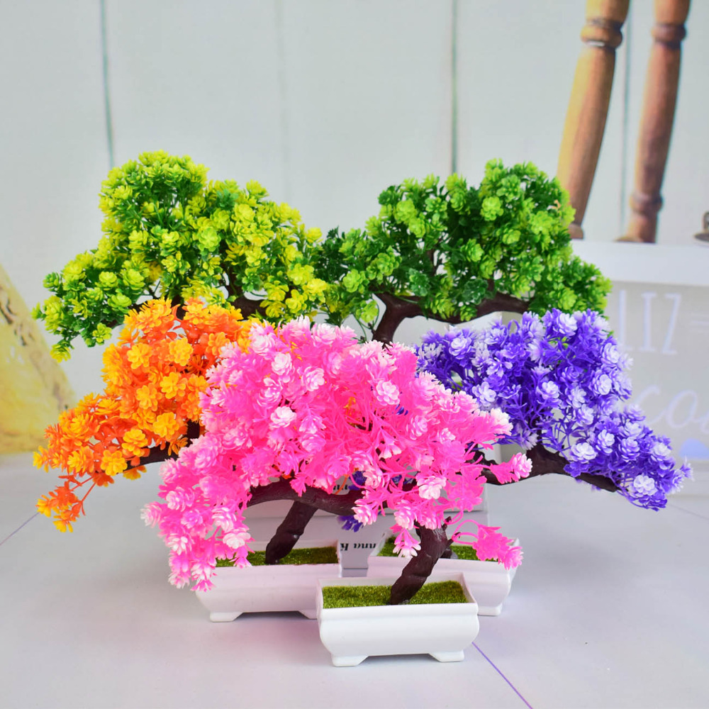 Mini Plastic artificial bonsai trees fake pine tree flower bonsai for home Christmas decoracion green yellow orange pink violet