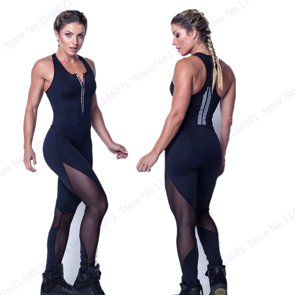 Mesh Patchwork Rompers Jumpsuit Sexy Fitness Gym Yoga