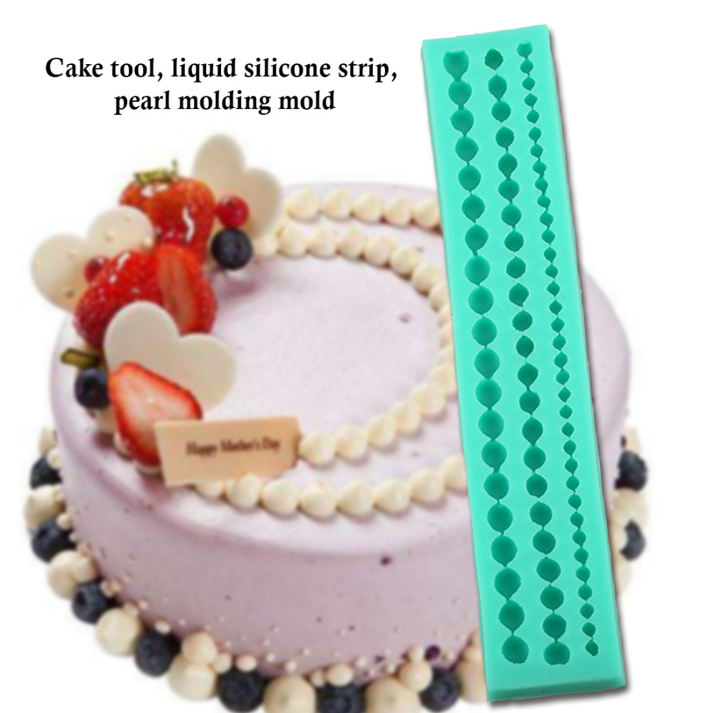 Bakeware Best Sale Moldes Para Reposteria 4 Strings Of Pearl Fondant Sugar Craft Paste Bead Mold Claysilicone Cake Mold