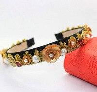 Nowy bride biżuteria hurtowych zabytkowe perły akcesoria sukienka retro Barokowy korona hairband Luksusowe monety barokowe kryształ biżuteria