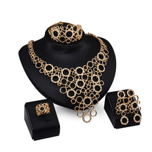 New Arrival 2016 African Costume Jewelry Sets Gold Crystal Wedding Women Bridal Accessories nigerian Necklace Set