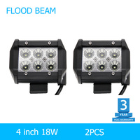 2pcs Led Drl 18W Led Chip 4 Spot Flood Led Working Lights 12V 24V Automobiles For
