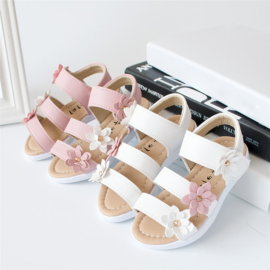 Summer Kids Children S_andals Fashion Sports Big Flower Leather Girls Flat Pricness Shoes For Party*Wedding Dropshipping 0208