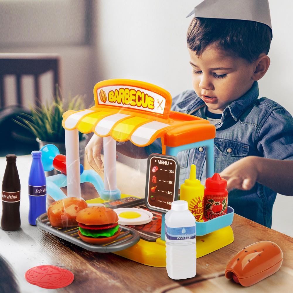 33 Pcs Kitchen Toys Pretend Play Cooking Toys Tableware Sets Bbq Model Happy Pretend Toys For Children Xmas Gifts For Kids