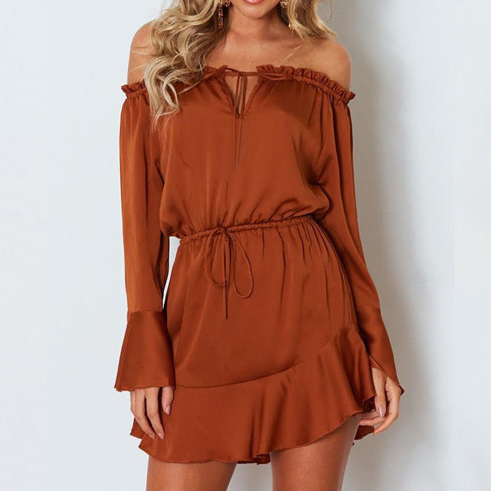 Summer Fashion Women Solid Flare Sleeve Slash-Neck Off Shoulder Club Party Mini Dress