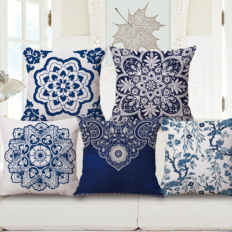 Decorative Cotton Linen Cushion Cover 45X45Cm Capa de Dlmofada Sofa Bedding Throw Pillow Case Blue and white porcelain