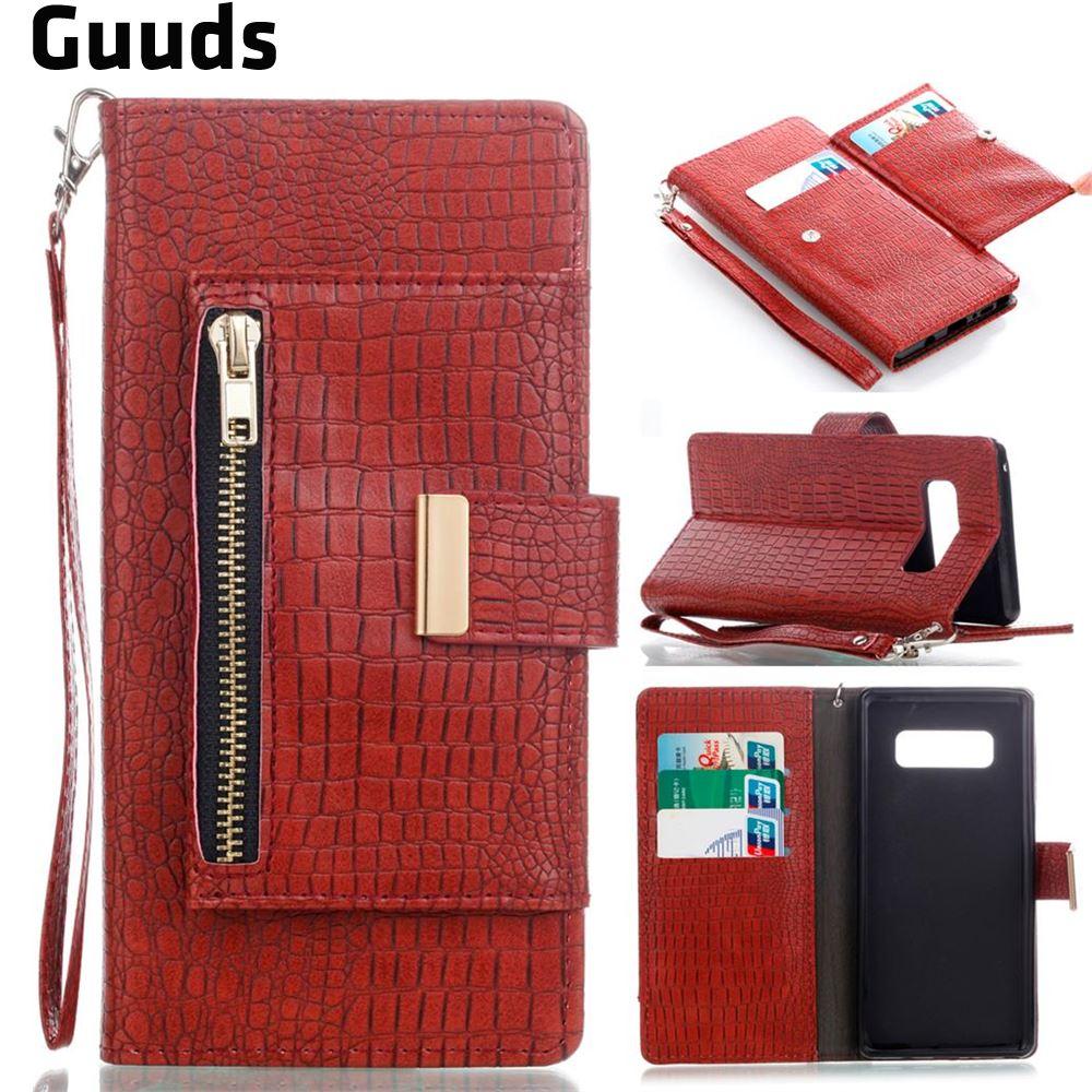 For Samsung Note8 S8 S8+ for iPhone X 8 8plus 7 7plus 6s 6splus 6 plus Leather Case Retro Crocodile Zippers Leather Wallet Case