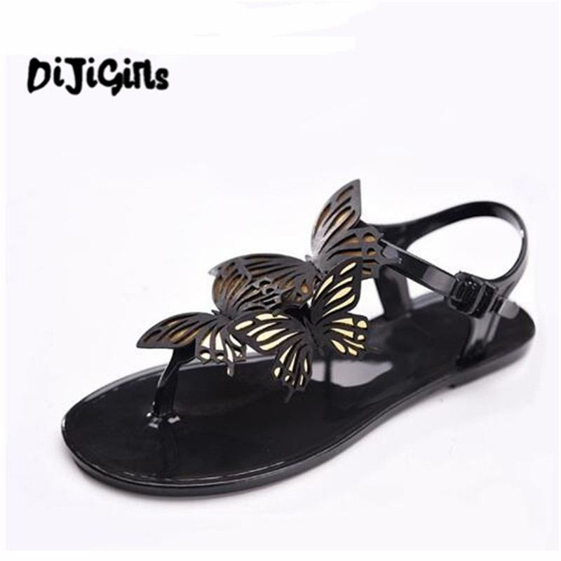 4d35d21c0b3caa Women Sandals Butterfly Flip Flops For Female Summer Ankle Strap Woman Flat  Shoes Fashion Jelly Shoe For Ladies Footwear-in Women s Sandals from Shoes  on ...