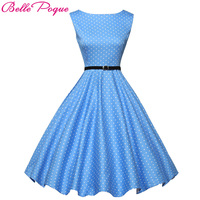 Hot Cotton Plus Size Vintage Retro 50s Style Swing Dress Pin Up Flower Pattern Polka Dots