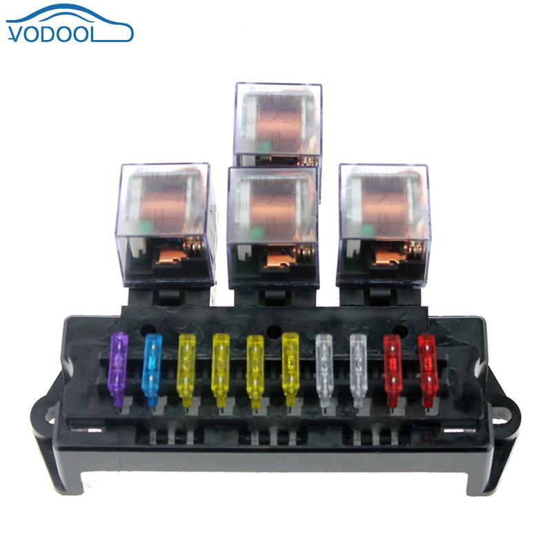 plastic 1a-40a 10 way circuit car fuse box block 12v 5 pin relay auto car  fuse holder middle size for automotive