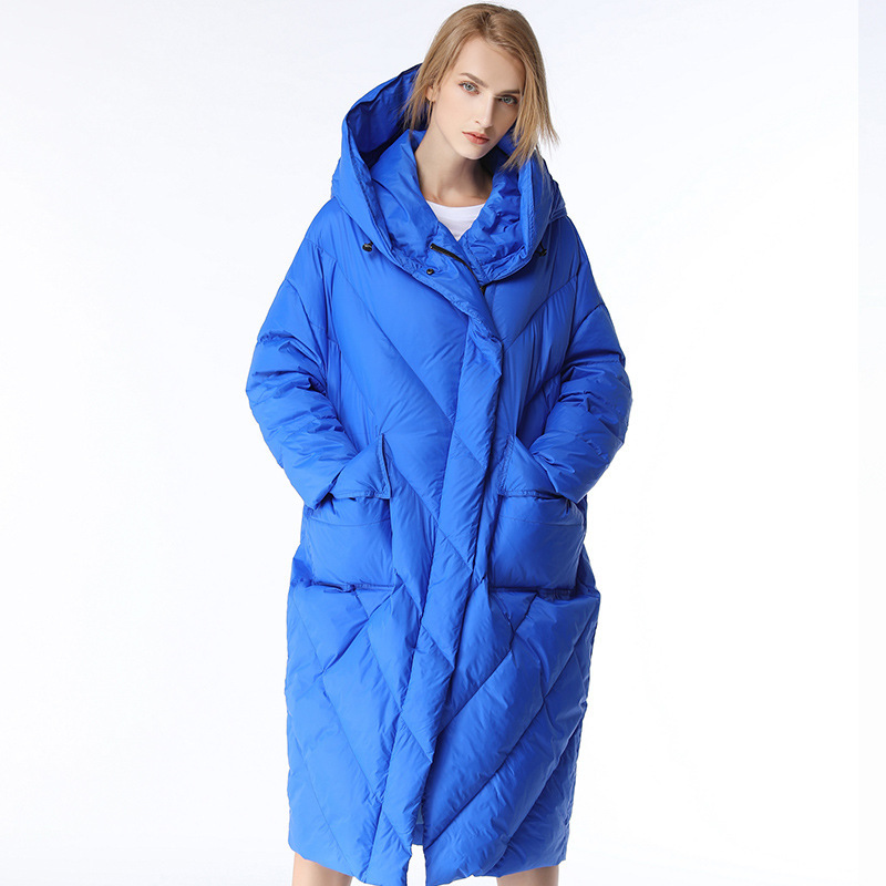 Winter Women's Cloak Style Fashion Bright   Down   Jacket Winter Warm Quilted   Down     Coat