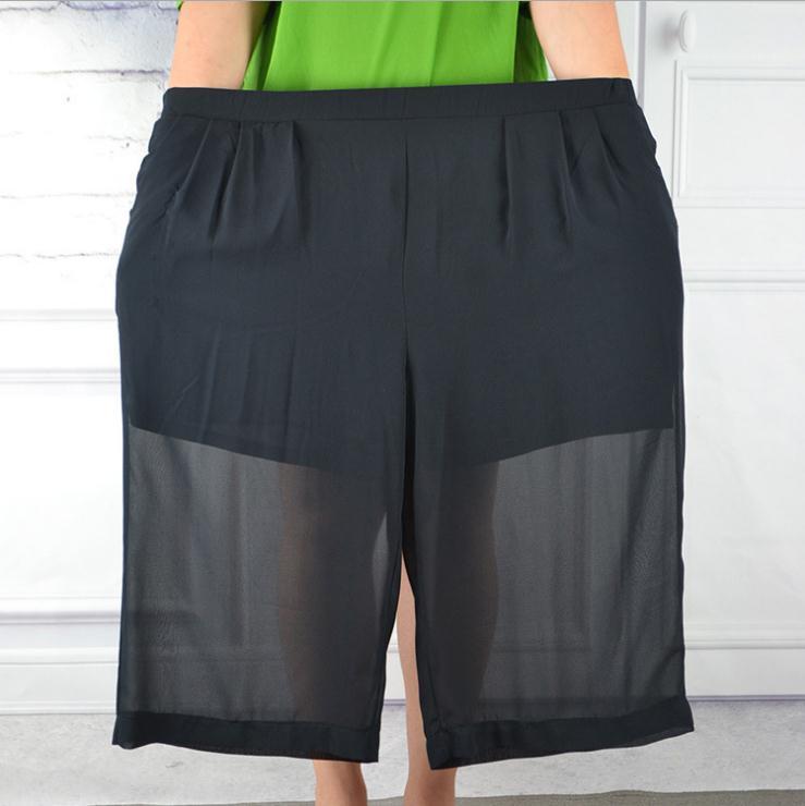 summer 2018 Plus size MAX 150KG Chiffon calf-length   wide     leg     pants   women,inner anti See-through thin summer   legs