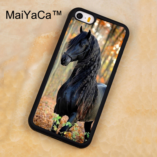 best sneakers 579a3 1dcd1 US $4.13 5% OFF|MaiYaCa Fresian Black Horse Forest Case For iPhone 5 5s  Protective Soft Rubber Back Cover For iPhone SE Mobile Phone Bag Case-in ...