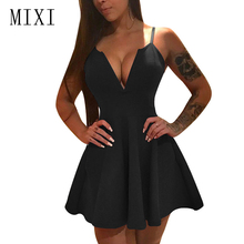 MIXI Sexy Little Black Dress Women Spaghetti Strap V Neck A-Line Red Party Sleeveless High Waist Elegant Club Mini Dresses