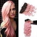 8A cabelo Humano Peruano Onda Do Corpo Do Cabelo Virgem 3 Pacotes Com orelha a Orelha Fechamento 13x4 Rendas Frontal Ombre # 1B/pink Livre grátis