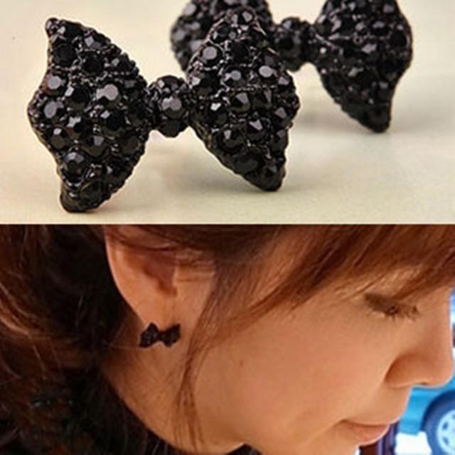 Cute Butterfly Bow Earring Jewelry With Black Rhinestones