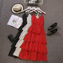 Polka Sukienka w kropki czerwony Sukienka Plus rozmiar Ruffles kobiety ubrania 2019 Spaghetti pasek Sukienka Letnia Vestido Feminino czarny biały Xxxl 1
