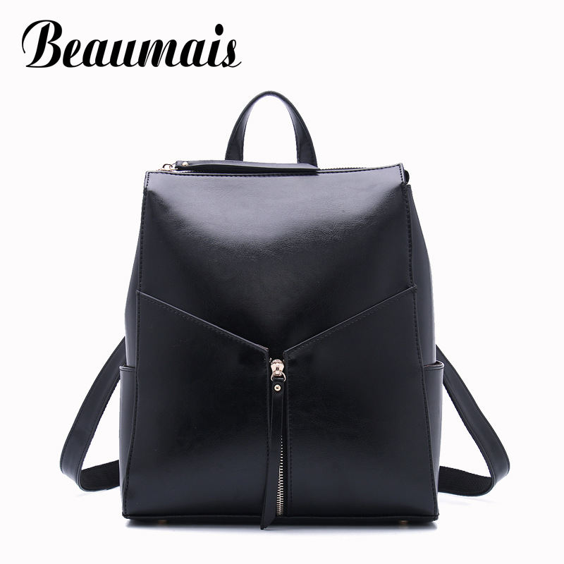 Beaumais Genuine Leather Backpacks Casual School Bags For Teenager Girls Leather Backpacks For Women Shoulder Bag Mochila DB6076 2016new rucksack luxury backpack youth school bags for girls genuine leather black shoulder backpacks women bag mochila feminina