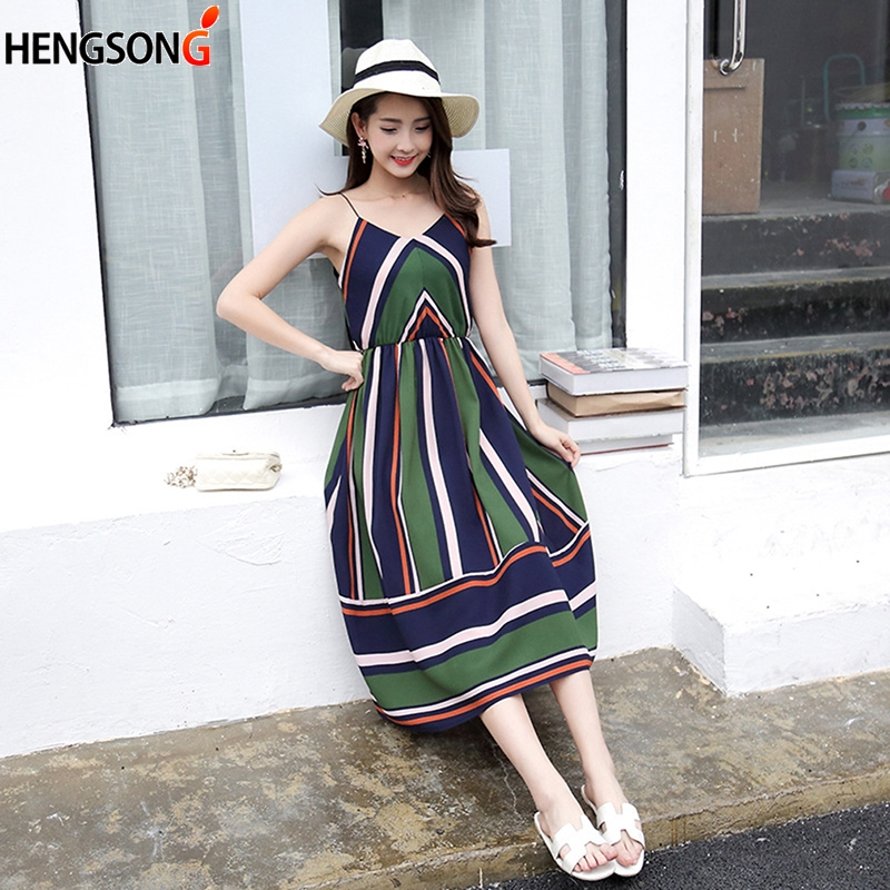 Fashion Spaghetti Strap Midi A Line Summer Party <font><b>Dress</b></font> <font><b>Casual</b></font> <font><b>Striped</b></font> <font><b>Beach</b></font> <font><b>Dress</b></font> 2019 Sundress Vestidos <font><b>Women</b></font> <font><b>Sexy</b></font> <font><b>Sleeveless</b></font> image