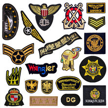 diy Black Military Patch Embroidery Applique Clothes Patches Biker Bordado Skull Badge Army Iron on Transfer Brand Stickers(China)