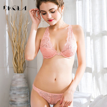 Europe Sexy Pink Ultrathin Embroidery Bra and Pantie Set 1