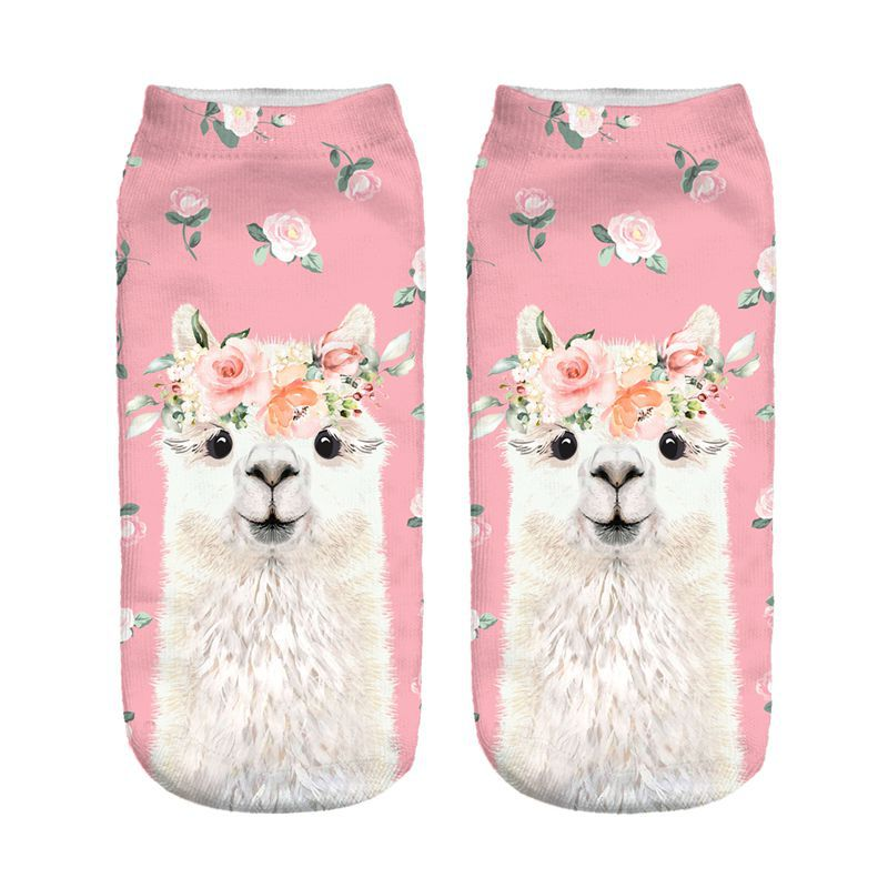 Pink Rose Wreath Llama New Hot Women Hosiery Printing Socks Girl Funny Meias Low Cut Ankle Sock Calcetines Christmas Gift Socks