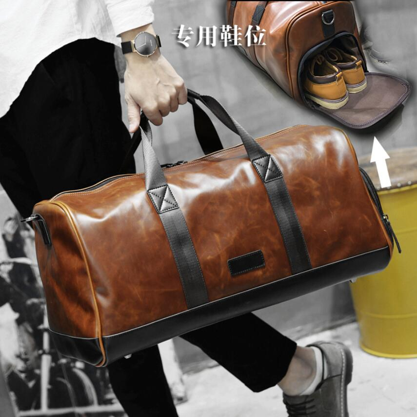 Brown PU Leather Men Travel Bags Overnight Duffel Carry on Bag Women Weekend Sport Handbags Large Totes Shoulder Crossbody Purse