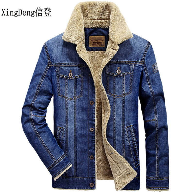 Xingdeng hommes cowboy veste manteaux vêtements denim vestes mode hommes jeans épais chaud hiver outwear mâle coton vêtements