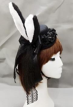 Women Plush Fluffy Bunny Rabbit Ears Mini Top Hat Costume Rose Flower Lace Accessory Halloween Dress Up   1