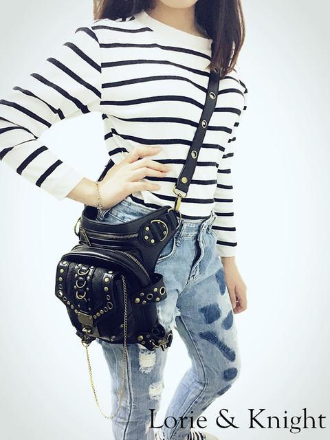 Personality Women/Men Black Leather Steampunk Mini Waistbag