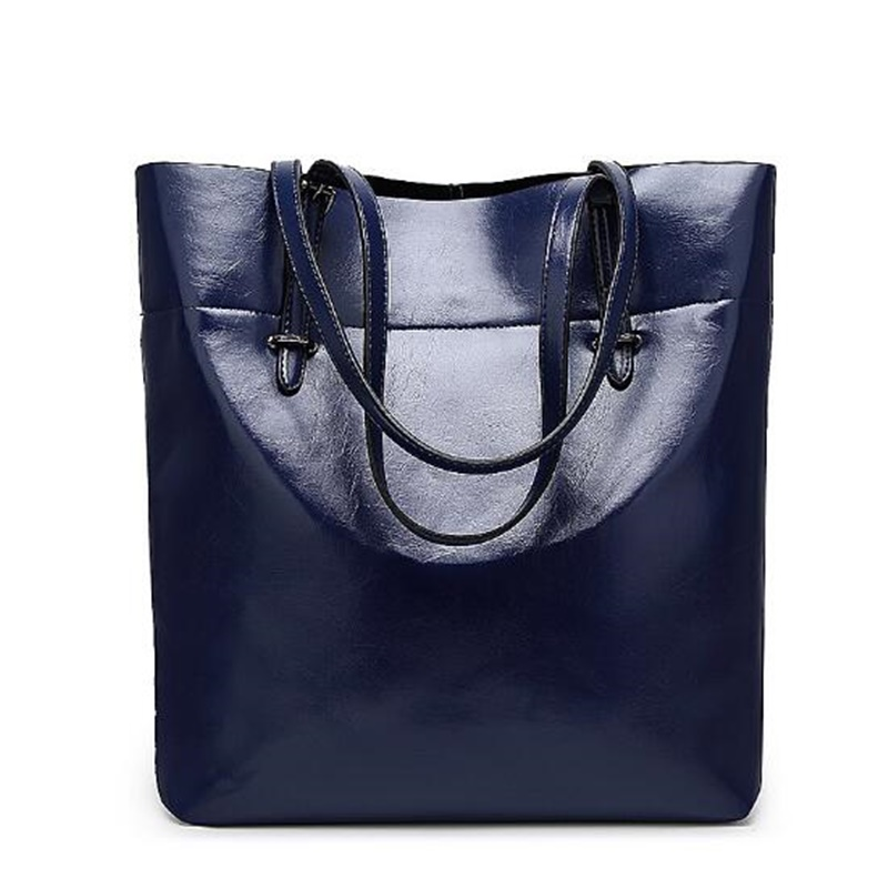 ФОТО Women Wax oil Leather Handbags Famous Brand Female Luxury Large Capacity Totes Ladies Shoulder Big Bag High Quality Bolso Mujer