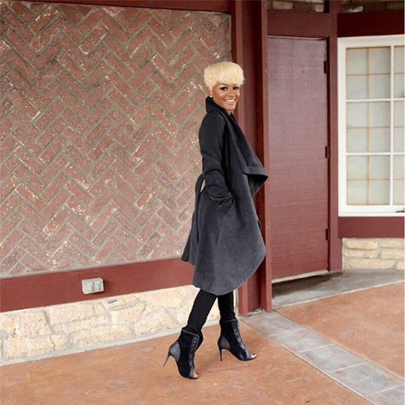 Style européen Hiver Manteau Femmes De Mode Grand Revers Noir Tranchée  Laine Manteau Veste Femme Sexy Lâche Manteaux Longs Pardessus C1211 2d0928b5c0b