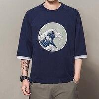 2019 Japan Style T Shirt Men Wave Printing Cotton T shirt Homme New Summer Three Quarter Short Sleeve Casual Loose Men's Tshirt