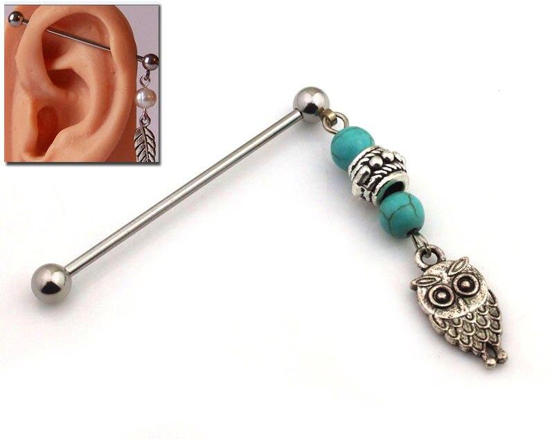 ᗐPE0014 envío libre 10 pc/lot acero Owl body piercing Industrial ...