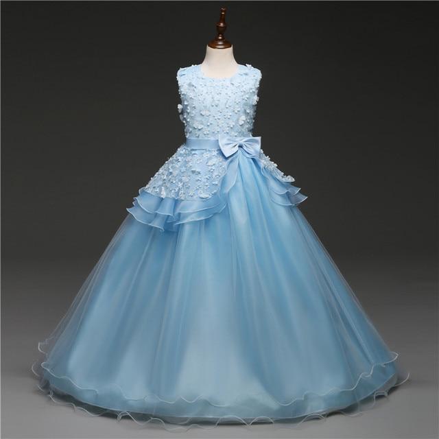 Новинка 2019 года, брендовые Платья с цветочным узором для девочек, белое, розовое праздничное платье для причастия, платье для маленьких девочек, детское платье для выпускного вечера на свадьбу
