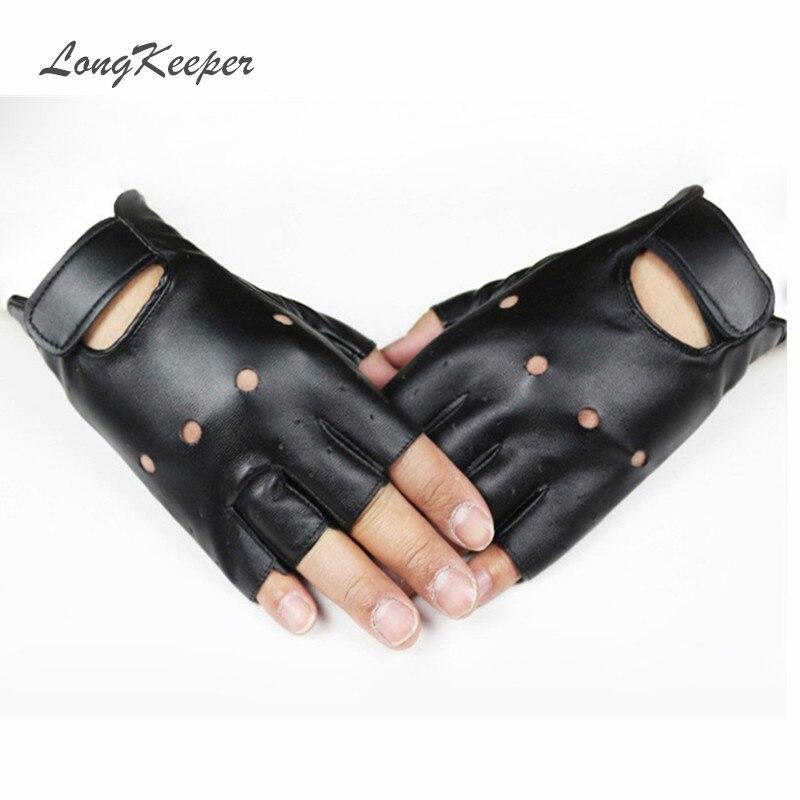 Fingerless Leather Zipper Gloves