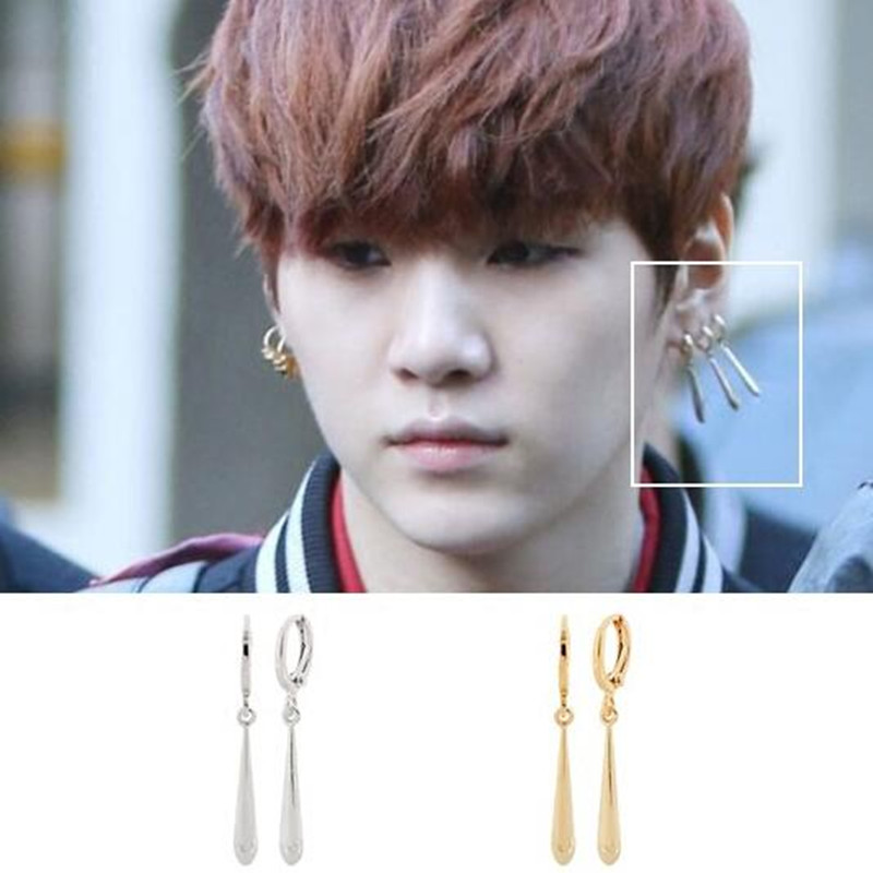 1pc Youpop KPOP BTS Bangtan Boys Album Suga Water Droplets Stud Earrings K-pop Jewelry Accessories For Mens And Womens Earring